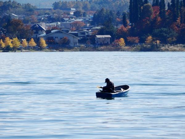 河口湖の釣り人