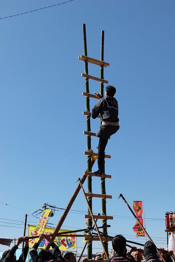山神宮祭典 梯子を駆け上がる