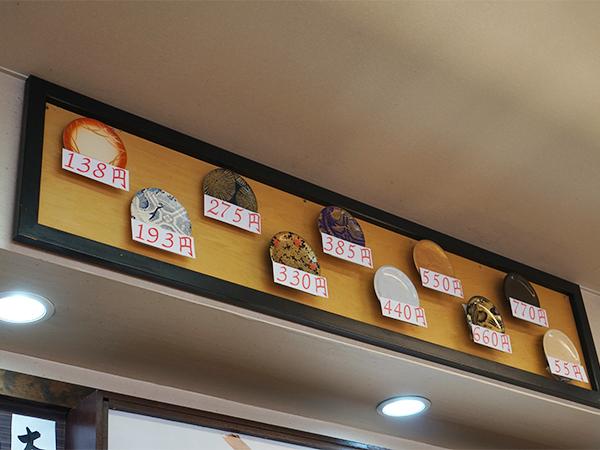 江戸前回転寿司 えびす お皿の値段
